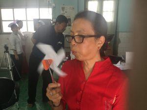Dr Khinthan Nwe improvises a method for hyperventilation!